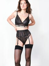 TANIA SERRE-TAILLE TULLE BRODE NOIR