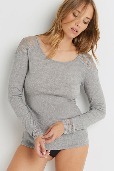 TEE SHIRT MANCHES LONGUES GRIS