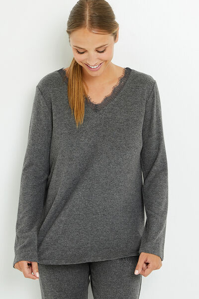 TEE-SHIRT MANCHES LONGUES ANTHRACITE